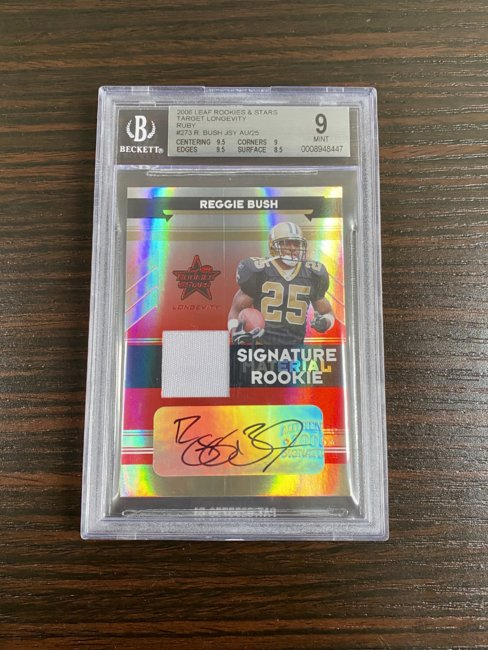 2006 Leaf Rookies and Stars Longevity Target Rookie Material Autographs Ruby #273 Reggie Bush/25 BGS 9/10