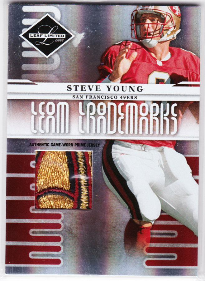 2008 Leaf Limited Team Trademarks Materials Prime #14 Steve Young /50