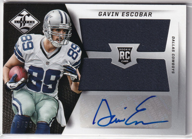 2013 Limited Rookie Jumbo Jerseys RC Logo Autographs #10 Gavin Escobar /99
