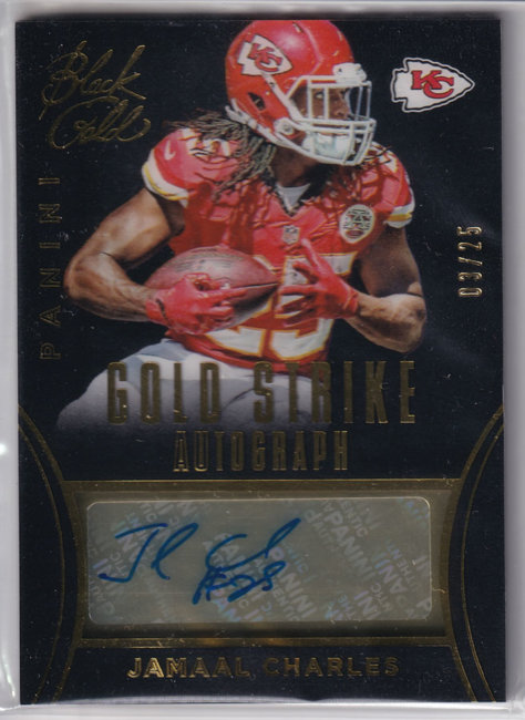 2014 Panini Black Gold Gold Strike Autographs Gold #16 Jamaal Charles /25