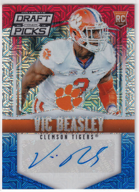 2015 Panini Prizm Draft Picks Autographs Prizms Red White and Blue #150 Vic Beasley Jr. /25